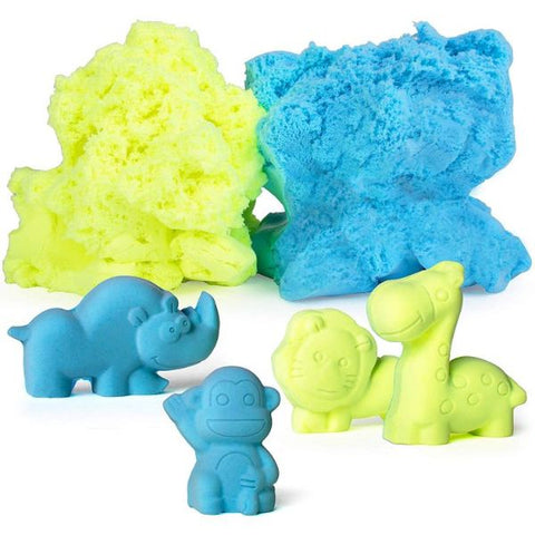 Reusable Nontoxic Modeling Dough + 10 Animal Molds (Blue/Green)