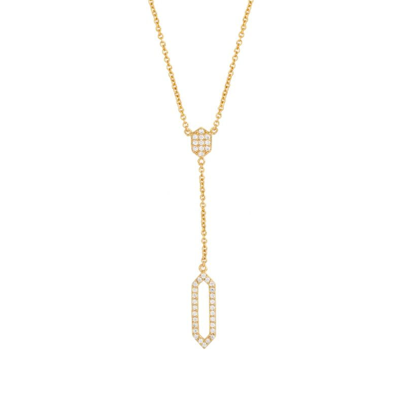 Sole du Soleil Women's 18K White Yellow or Rose Gold Plated CZ Geometric Lily Drop Necklace