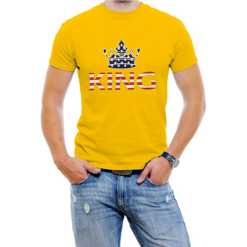 "USA Stars and Stripes ""King"" Men's T-Shirt-Yellow-4XL-Daily Steals"