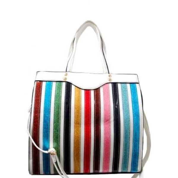 Colorful Stripe Satchel Handbag-White-Daily Steals