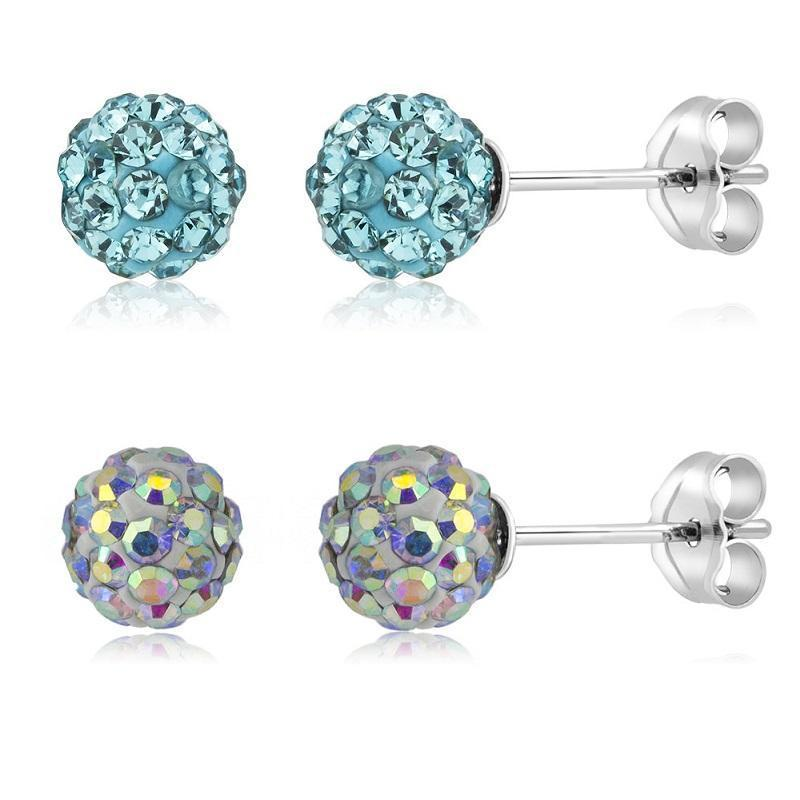 Daily Steals-[2-Pack] Crystal Round Ball Stud Earrings-Jewelry-