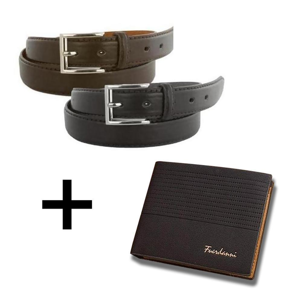Daily Steals-[2-Pack] Men's Genuine Leather Dress Belts with FREE Leather Wallet-Accessories-Black Wallet-30-32-