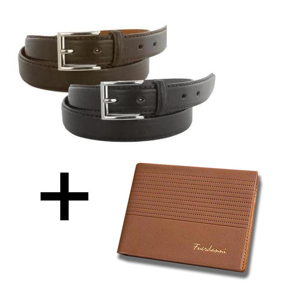 Daily Steals-[2-Pack] Men's Genuine Leather Dress Belts with FREE Leather Wallet-Accessories-Brown Wallet-30-32-
