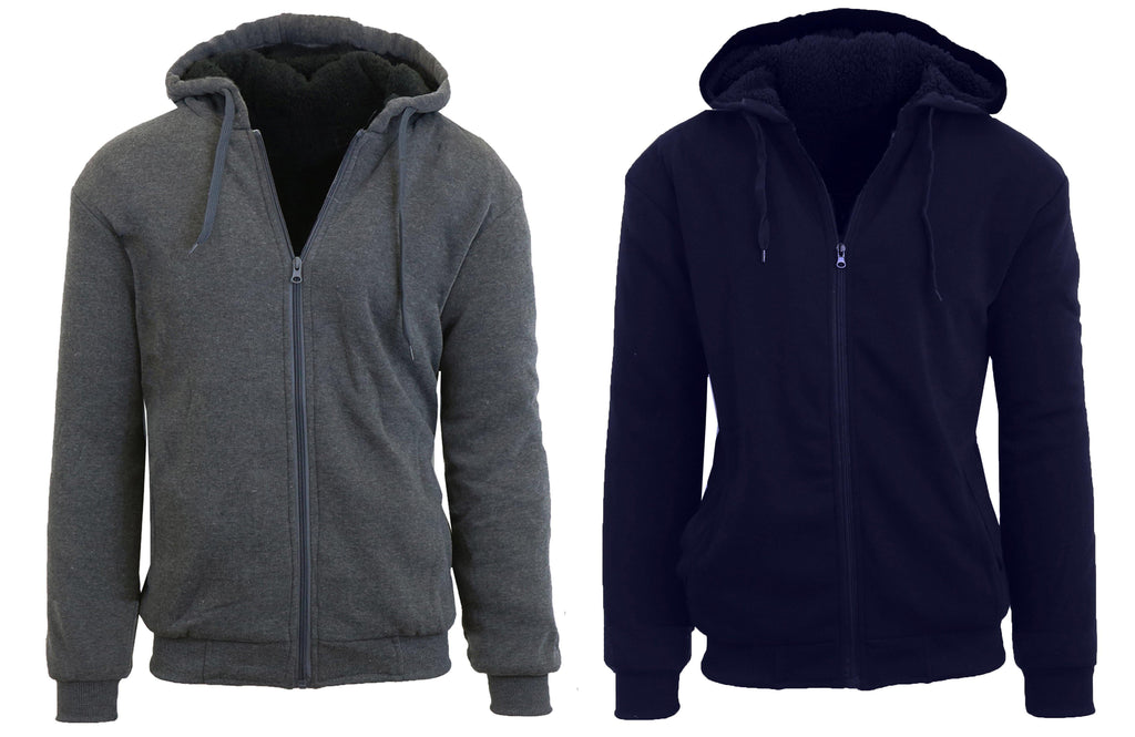 Daily Steals- [2-Pack] Mens Sherpa Lined Fleece Zip-Up Hoodies-Men's Apparel-Charcoal - Navy-XX-Large-