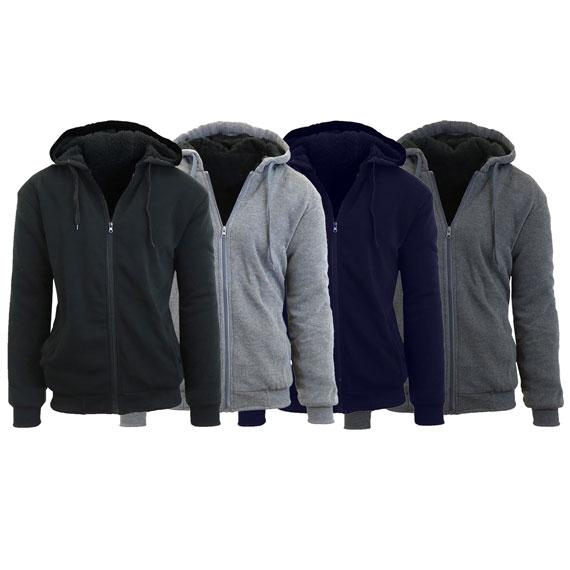 Daily Steals- [2-Pack] Mens Sherpa Lined Fleece Zip-Up Hoodies-Men's Apparel-Heather Grey - Black-Medium-