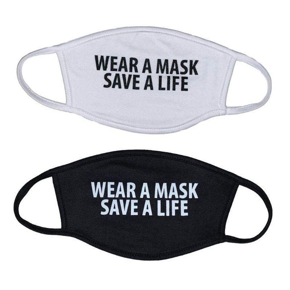 2 Ply Face Mask, Fashionable, Breathable, Washable & Reusable - 2 Pack-2-Pack Wear a mask save a life-