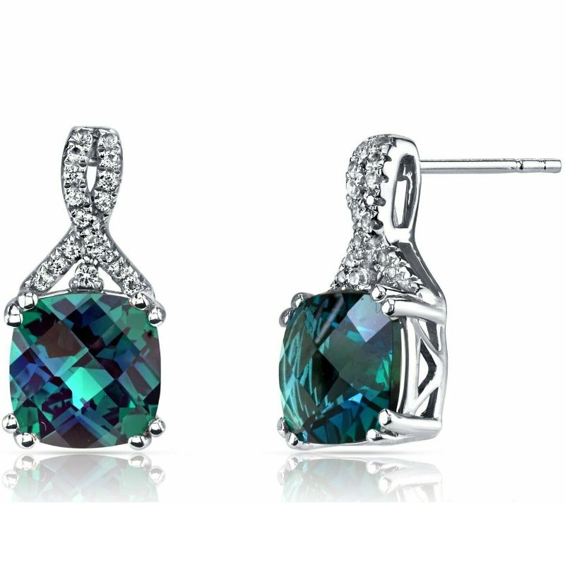 2.00 CTTW Asscher Cut Infinity Pav'e Studs Plated in 18K White Gold-Alexandrite-Daily Steals