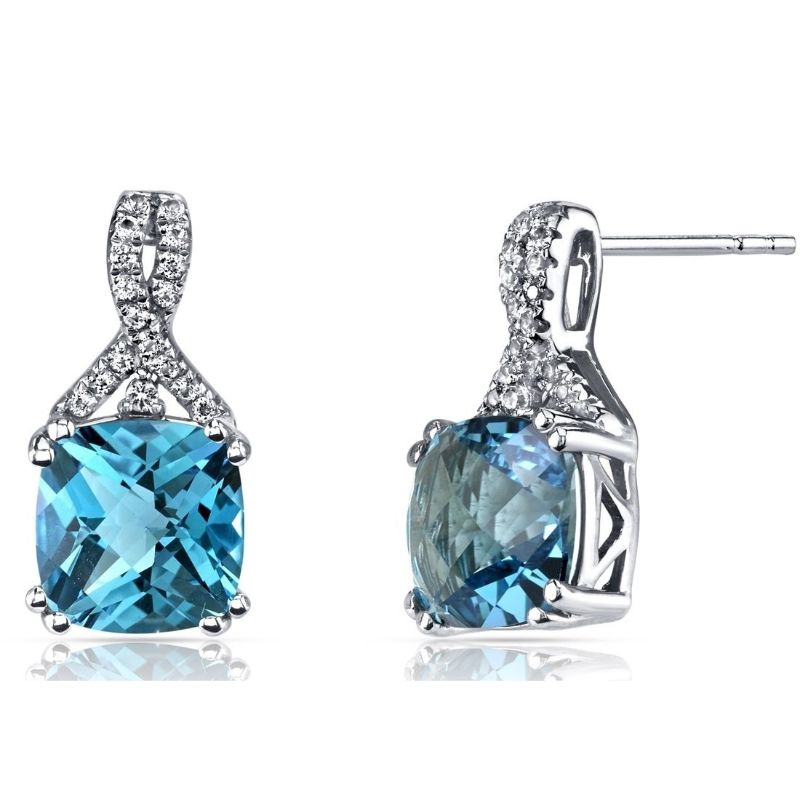 2.00 CTTW Asscher Cut Infinity Pav'e Studs Plated in 18K White Gold-Aqua-Daily Steals