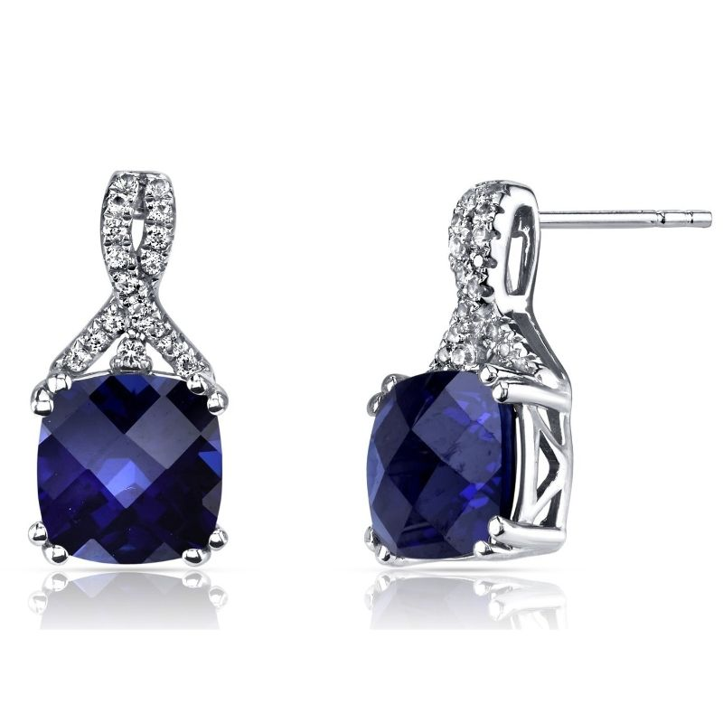2.00 CTTW Asscher Cut Infinity Pav'e Studs Plated in 18K White Gold-Blue-Daily Steals