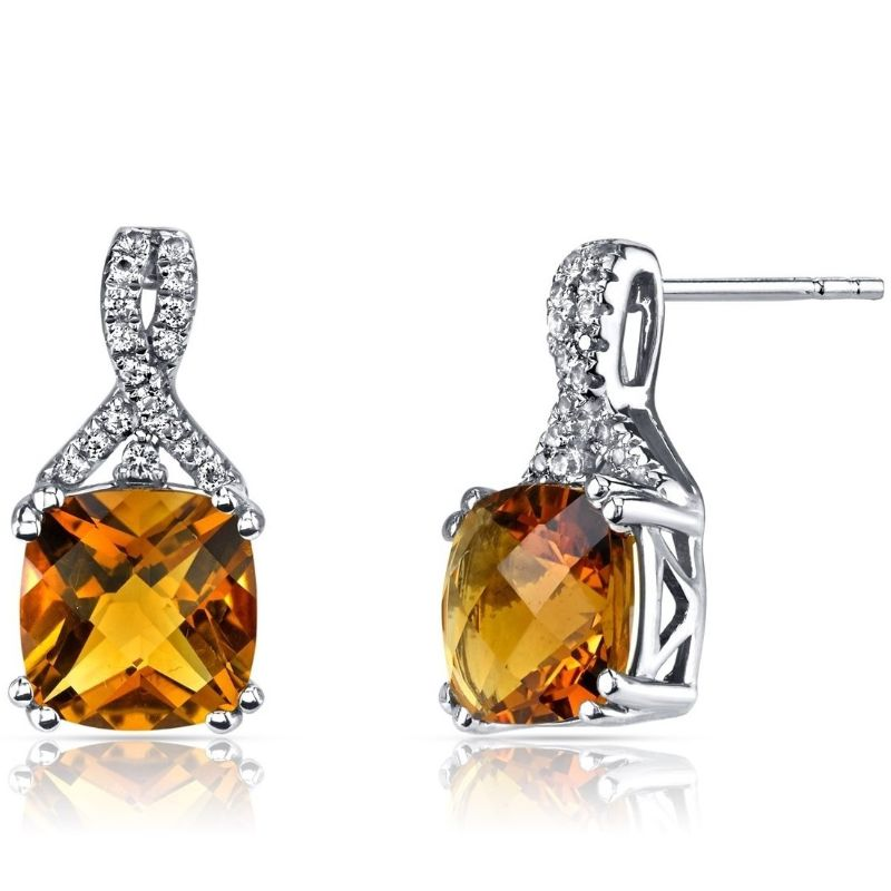 2.00 CTTW Asscher Cut Infinity Pav'e Studs Plated in 18K White Gold-Citrine-Daily Steals