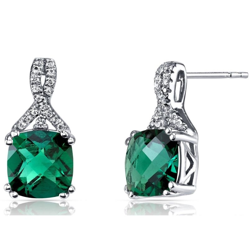 2.00 CTTW Asscher Cut Infinity Pav'e Studs Plated in 18K White Gold-Green-Daily Steals