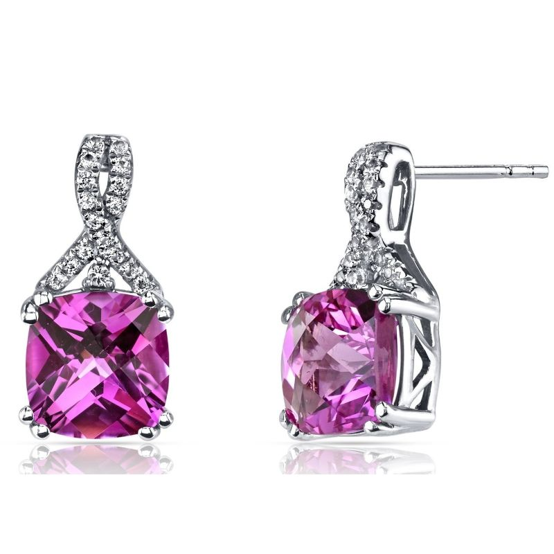 2.00 CTTW Asscher Cut Infinity Pav'e Studs Plated in 18K White Gold-Pink Sapphire-Daily Steals