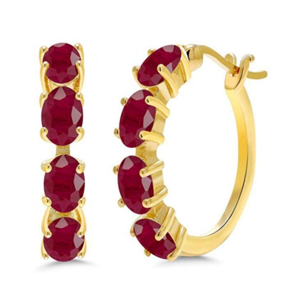 2.80 CTTW Ruby Oval Cut Gemstone Earrings in 14K Gold-Daily Steals