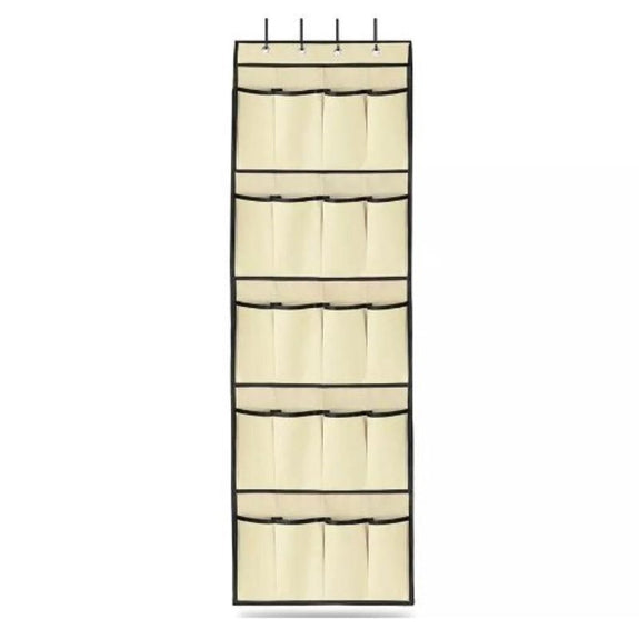 20 Pocket Over The Door Shoe Rack Organizer-Beige-