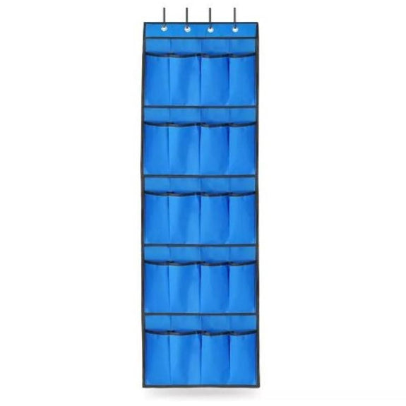 20 Pocket Over The Door Shoe Rack Organizer-Blue-