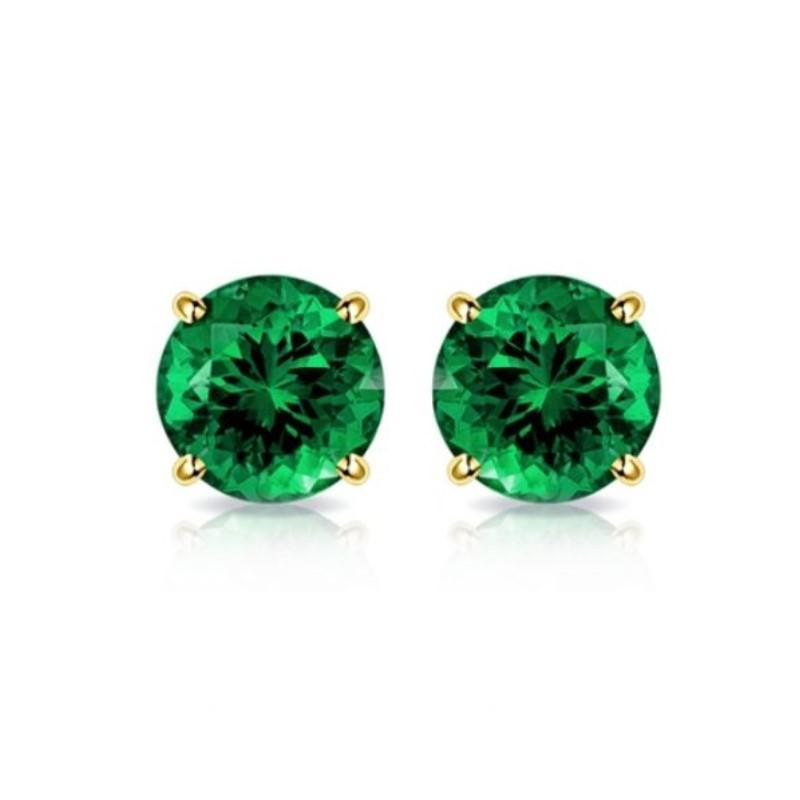 2.00 CTW Created-Emerald 10K Yellow Gold Stud Earrings-