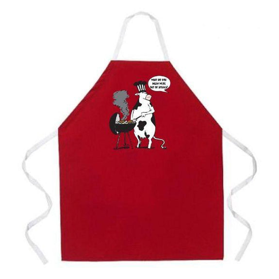 update alt-text with template Daily Steals-Made in USA Humor Grilling BBQ Aprons - Unisex-Kitchen-2012 Cow BBQ-