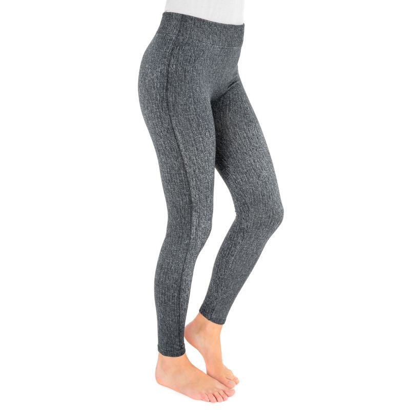 Muk Luks Women's Fleece-Lined Faux Denim Leggings-Grey-XL/2XL-Daily Steals