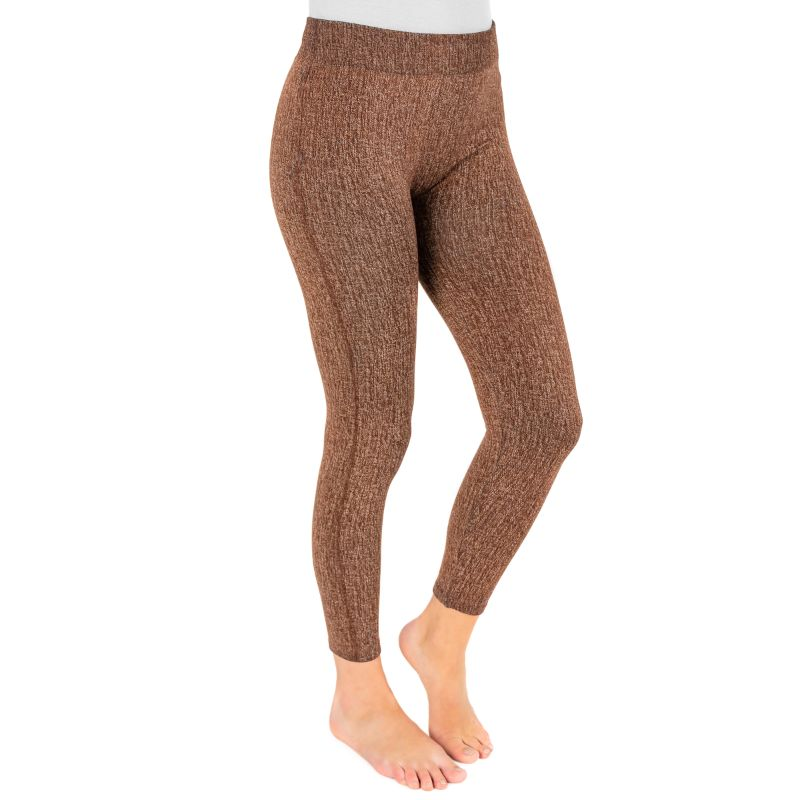 Muk Luks Women's Fleece-Lined Faux Denim Leggings-Brown-S/M-Daily Steals