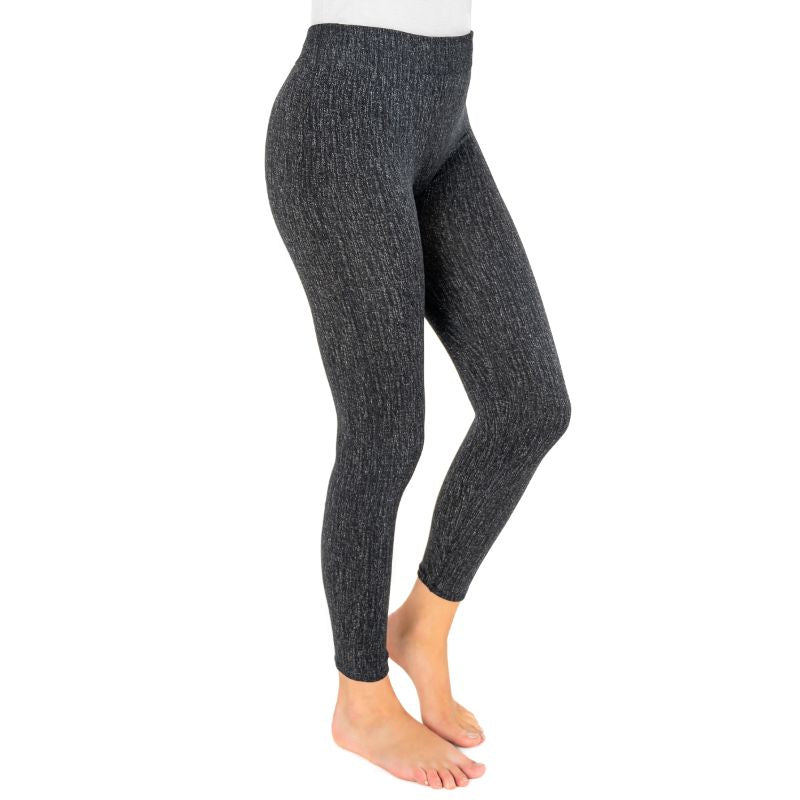 Muk Luks Women's Fleece-Lined Faux Denim Leggings-Indigo-XL/2XL-Daily Steals