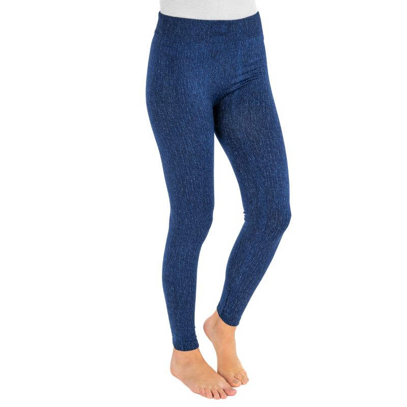 Muk Luks Women's Fleece-Lined Faux Denim Leggings-Navy-S/M-Daily Steals