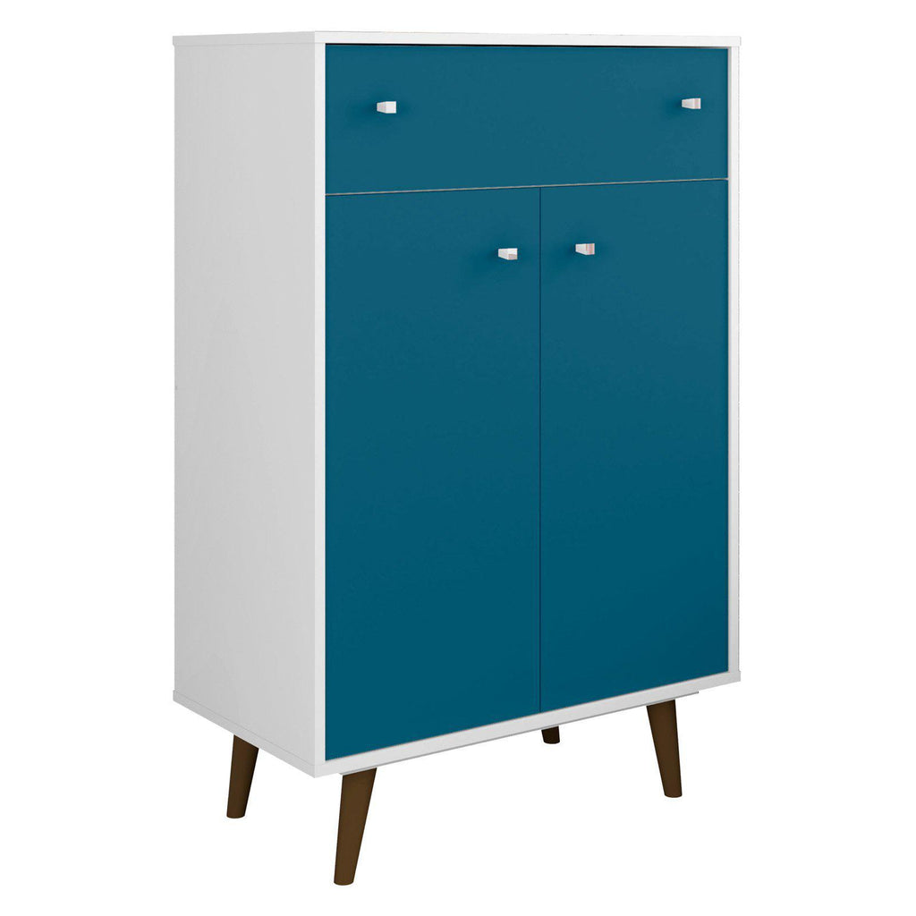Liberty 1-Drawer 28.07 Inch Storage Cabinet-White and Aqua Blue