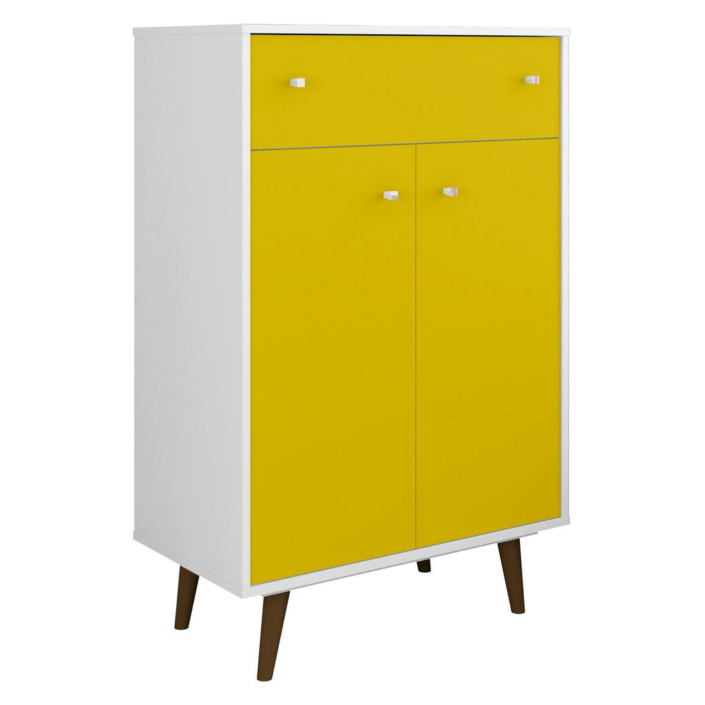 Liberty 1-Drawer 28.07 Inch Storage Cabinet-White and Yellow