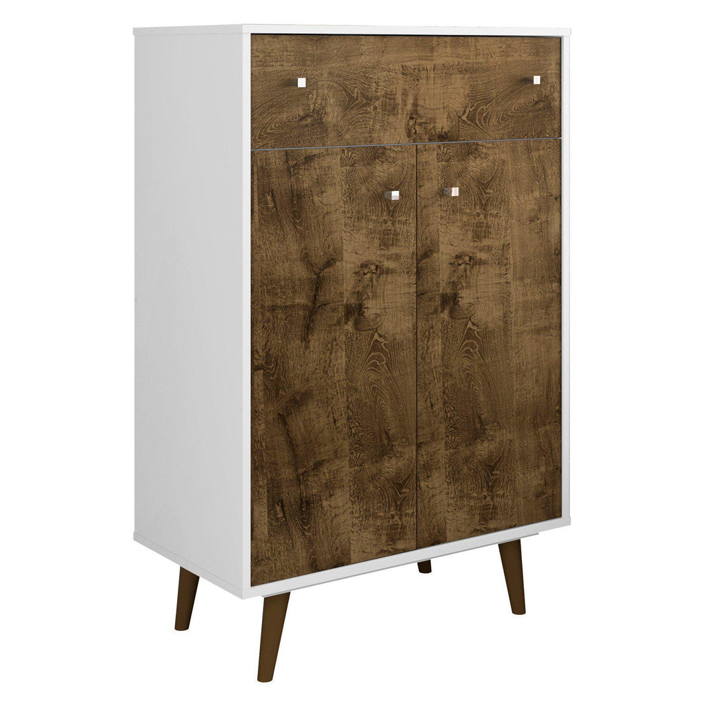 Liberty 1-Drawer 28.07 Inch Storage Cabinet-White and Rustic Brown-2