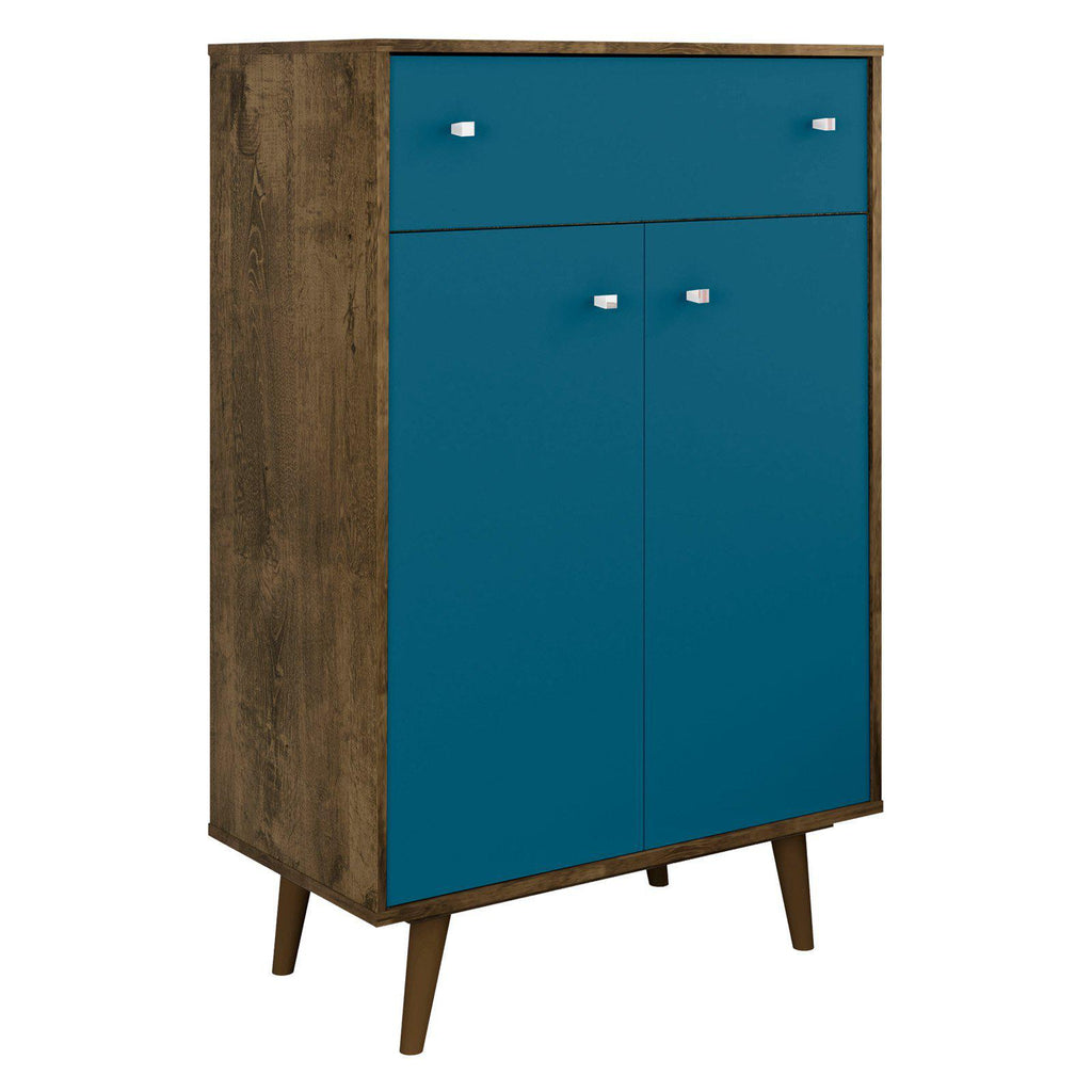 Liberty 1-Drawer 28.07 Inch Storage Cabinet-Rustic Brown and Aqua Blue