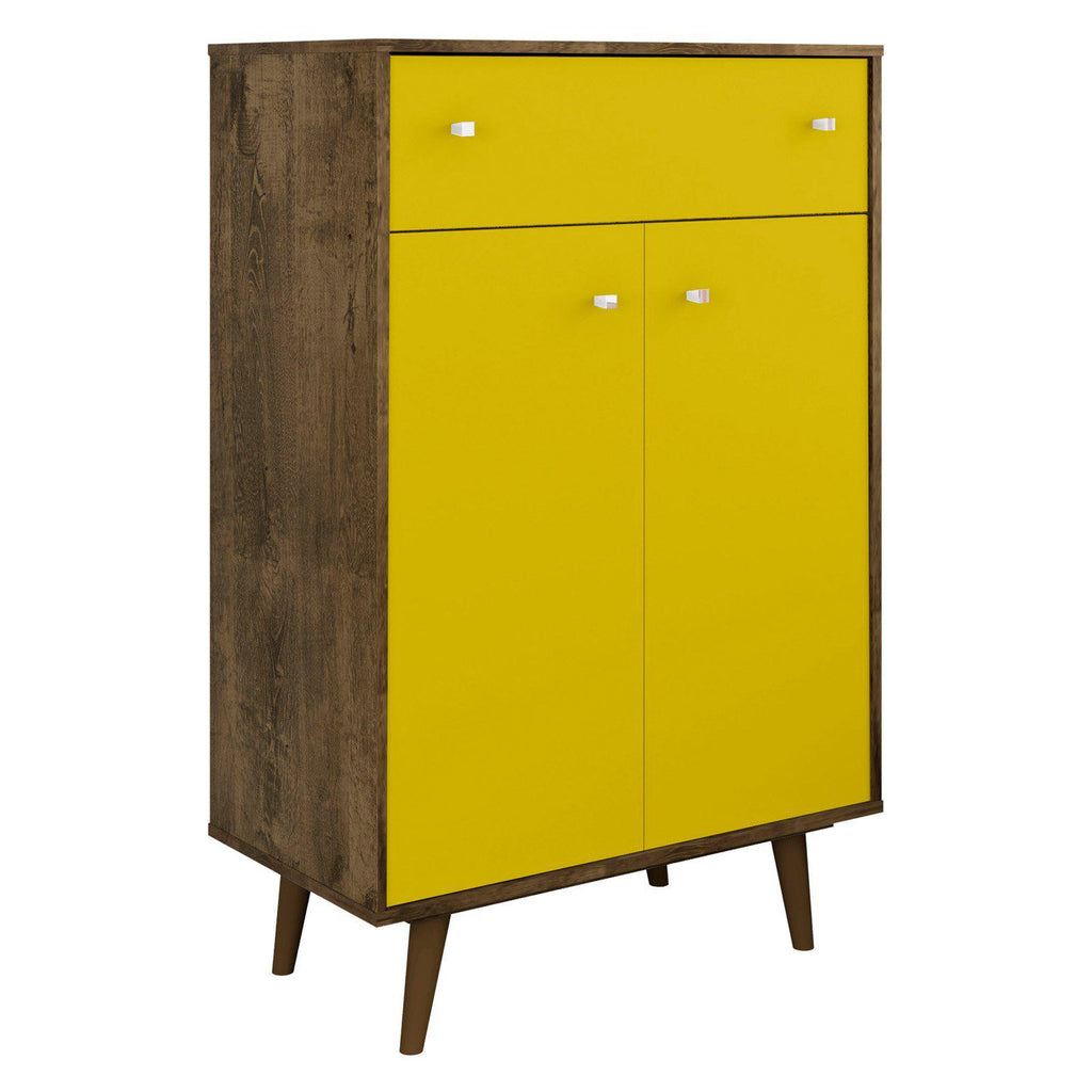 Liberty 1-Drawer 28.07 Inch Storage Cabinet-Rustic Brown and Yellow