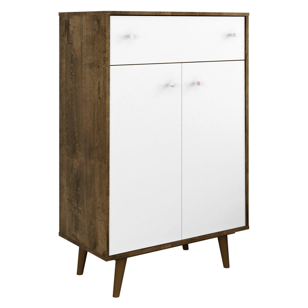 Liberty 1-Drawer 28.07 Inch Storage Cabinet-Rustic Brown and White