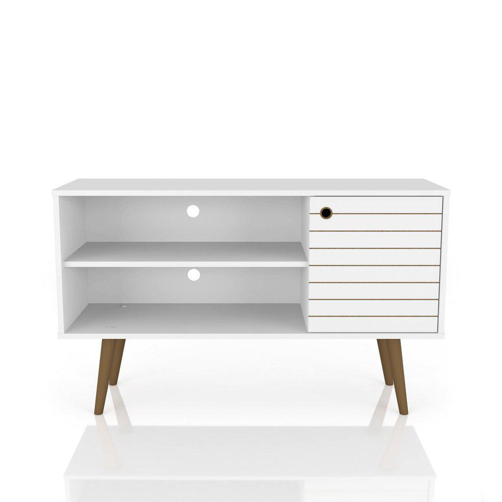 Liberty 42.52 Mid-Century Modern Shelf TV Stand-White-Daily Steals