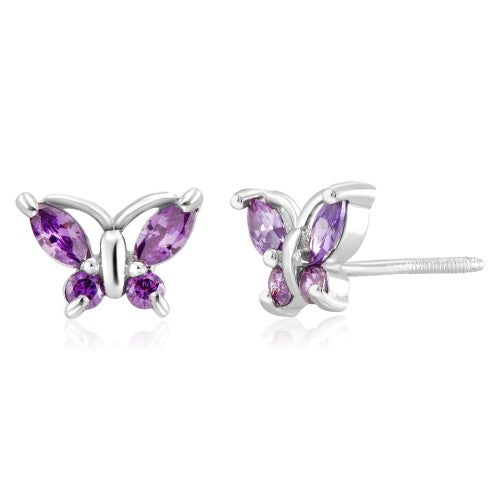 Sterling Silver Cubic Zirconia Screwback Butterfly Earrings - 2 Colors-Purple-Daily Steals