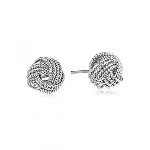 18K White Gold Twist Knot Stud Earrings-Daily Steals
