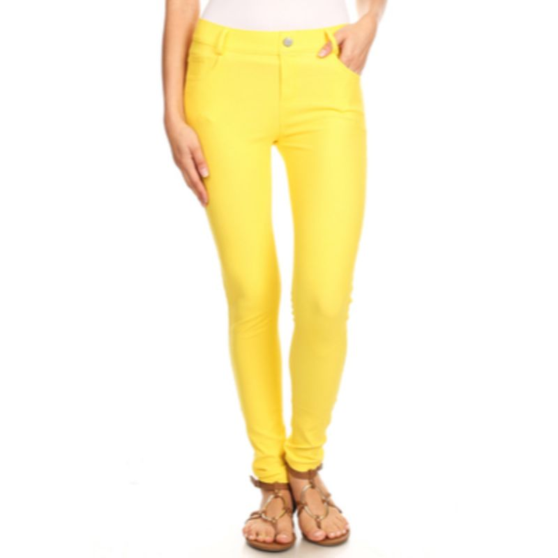 Ensemble de coton complet femme Jeggings-Jaune-Grand-Daily-Steals