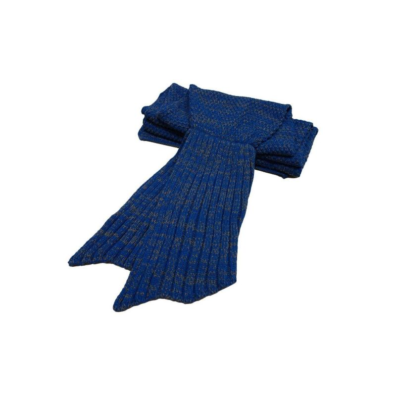 Mermaid Tail Knit Crochet Warm & Soft Blanket for Kids and Adults-Adults-Royal Blue, Regular-Daily Steals