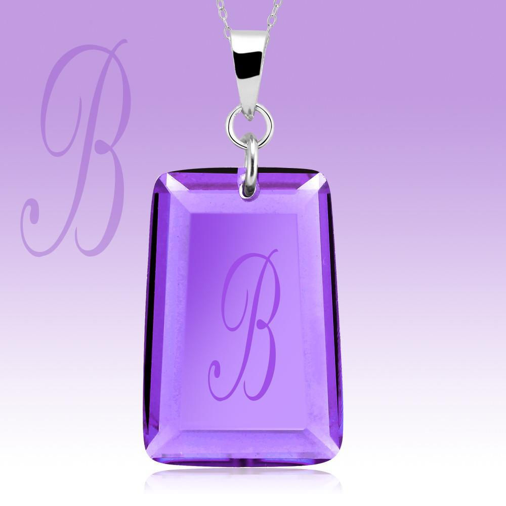 Amethyst Crystal Drop Necklace with Initial-b-Daily Steals