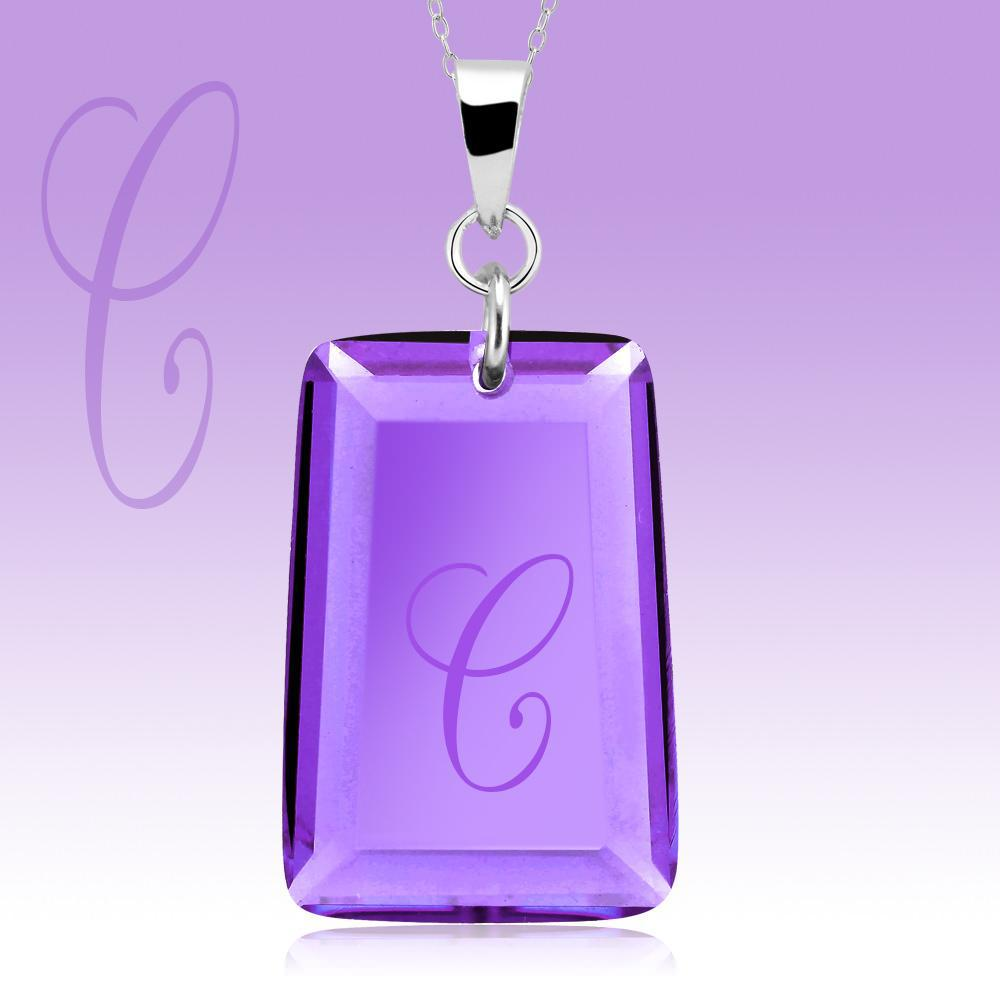 Amethyst Crystal Drop Necklace with Initial-c-Daily Steals
