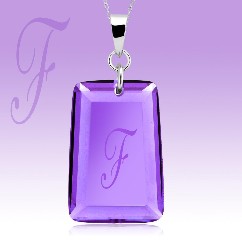 Amethyst Crystal Drop Necklace with Initial-f-Daily Steals
