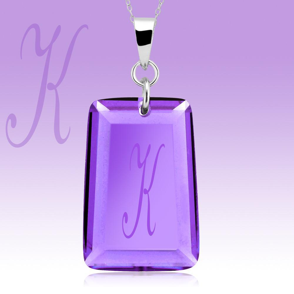Amethyst Crystal Drop Necklace with Initial-k-Daily Steals