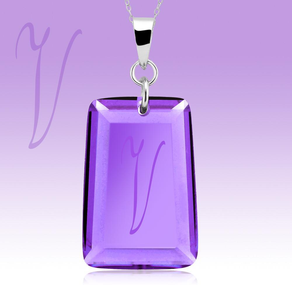 Amethyst Crystal Drop Necklace with Initial-v-Daily Steals