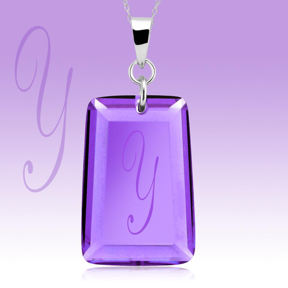 Amethyst Crystal Drop Necklace with Initial-y-Daily Steals