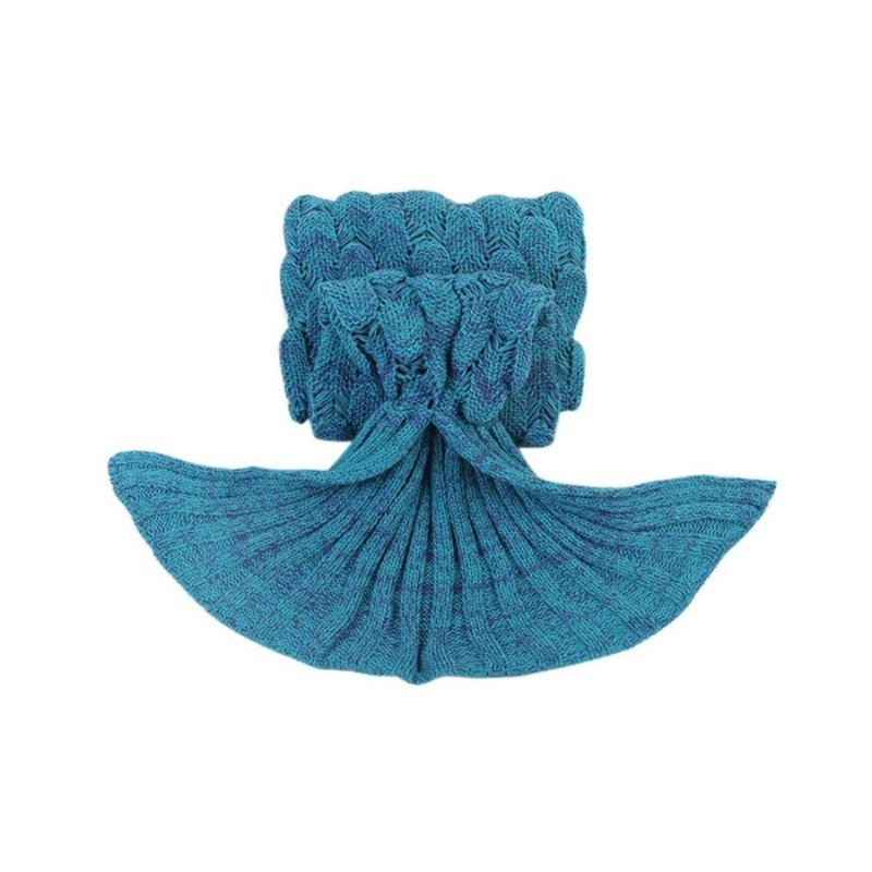 Mermaid Tail Knit Crochet Warm & Soft Blanket for Kids and Adults-Adults-Mint Green-Daily Steals