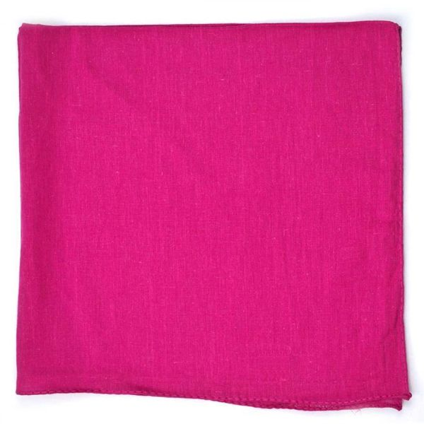100% Cotton 18 Pack Bandana - 22 x 22-Solid Hot Pink-Daily Steals