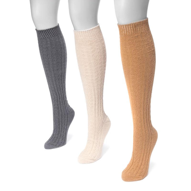 Women's Cable Knee High Socks by Muk Luks - 3 Pack-Daily Steals