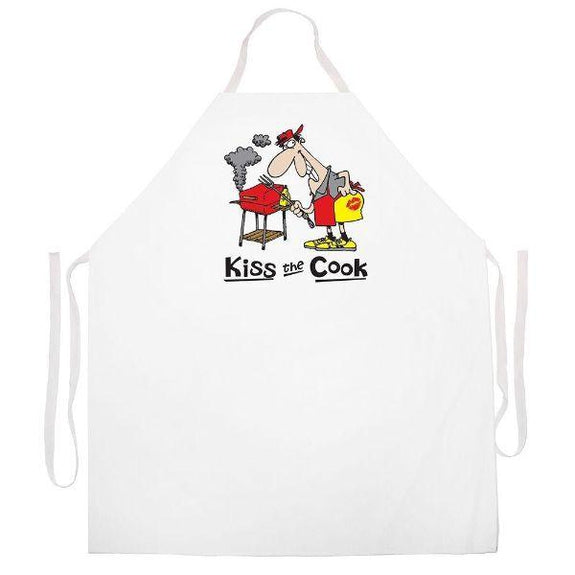 update alt-text with template Daily Steals-Made in USA Humor Grilling BBQ Aprons - Unisex-Kitchen-2340 Kiss the Cook Cartoon-