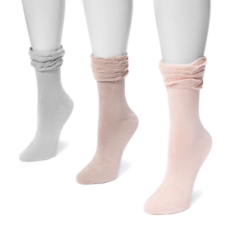 MUK LUKS Women's 3 Pair Pack Ruffle Boot Socks-Soft-One Size Fits Most-Daily Steals