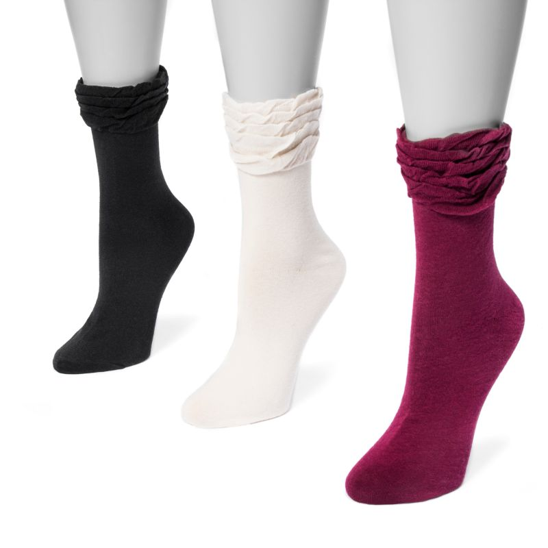 MUK LUKS Women's 3 Pair Pack Ruffle Boot Socks-Classic-One Size Fits Most-Daily Steals