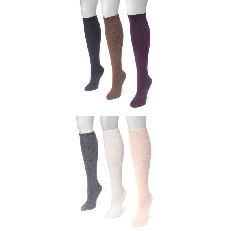 Women's Fuzzy Yarn Knee High Socks by Muk Luks - 3 Pack-Daily Steals