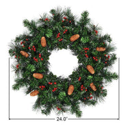 "24"" Pre-lit Artificial Spruce Christmas Wreath-"